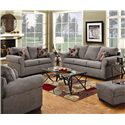 United Furniture Industries 1640 Queen Sleeper Sofa with Exposed Wood Feet - Shown with Loveseat