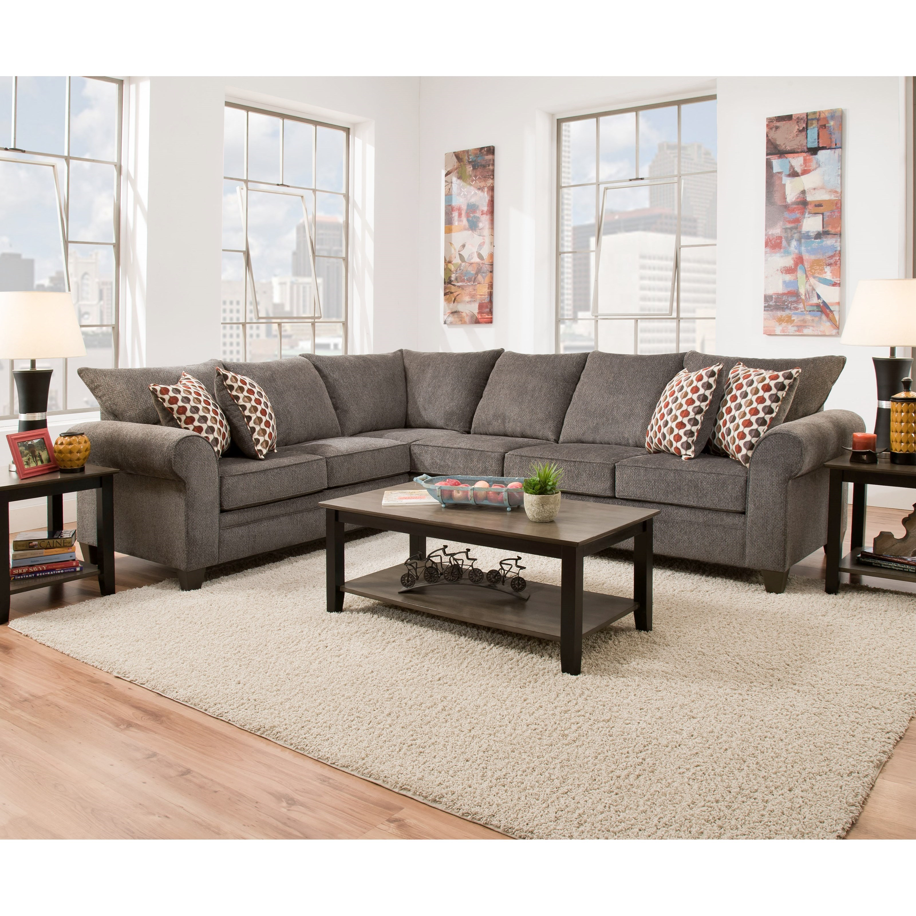 United Furniture Industries 1647 5-Seat Sectional with Sleeper Sofa - Item Number: 1647RAFSSofa+LAFBumpSofa-Pewte