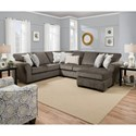 United Furniture Industries 1657  Sectional Sofa - Item Number: 1657LAFSOFA+RAFSOFACHAISE-Ash