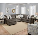 United Furniture Industries 1657  Sectional Sofa - Item Number: 1657LAFSOFACHAISE+RAFSOFA-Ash