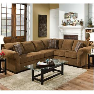United Furniture Industries 1685  Casual Sectional Sofa