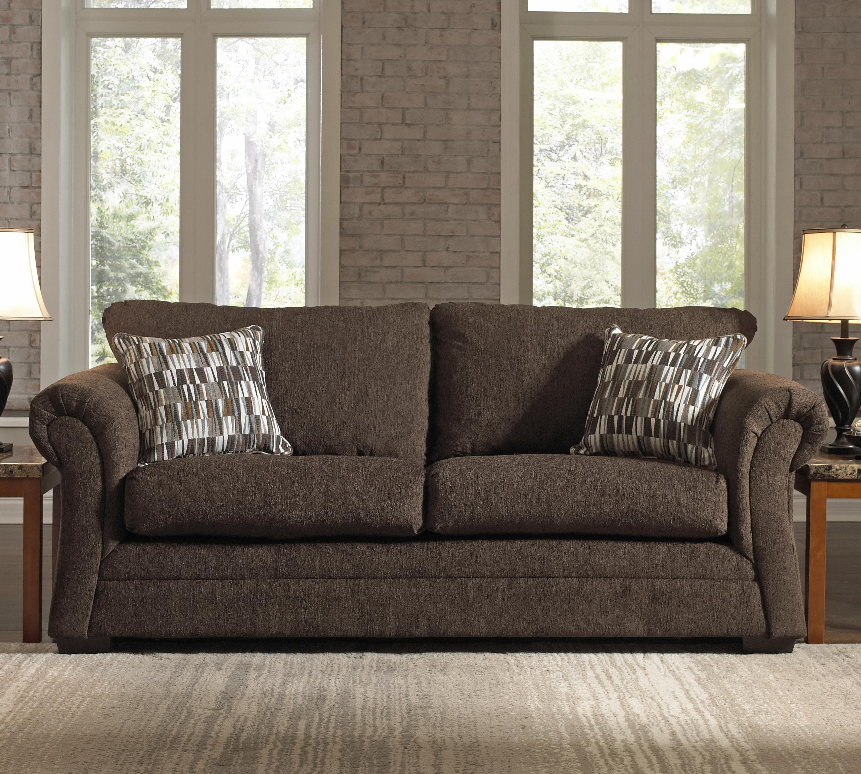 Lovely Simmons Upholstery 2256 Transitional Stationary Sofa   Item Number: 2256  Sofa Chocolate