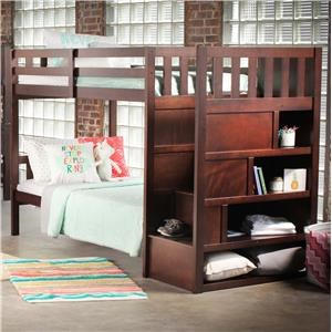 Simmons Upholstery 3000 Mission Hills Chesnut Bunkbed With Stairs And Storage