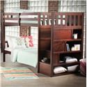 Simmons Upholstery 3000 Mission Hills Chesnut Bunkbed with Stairs and Storage - Item Number: 3000