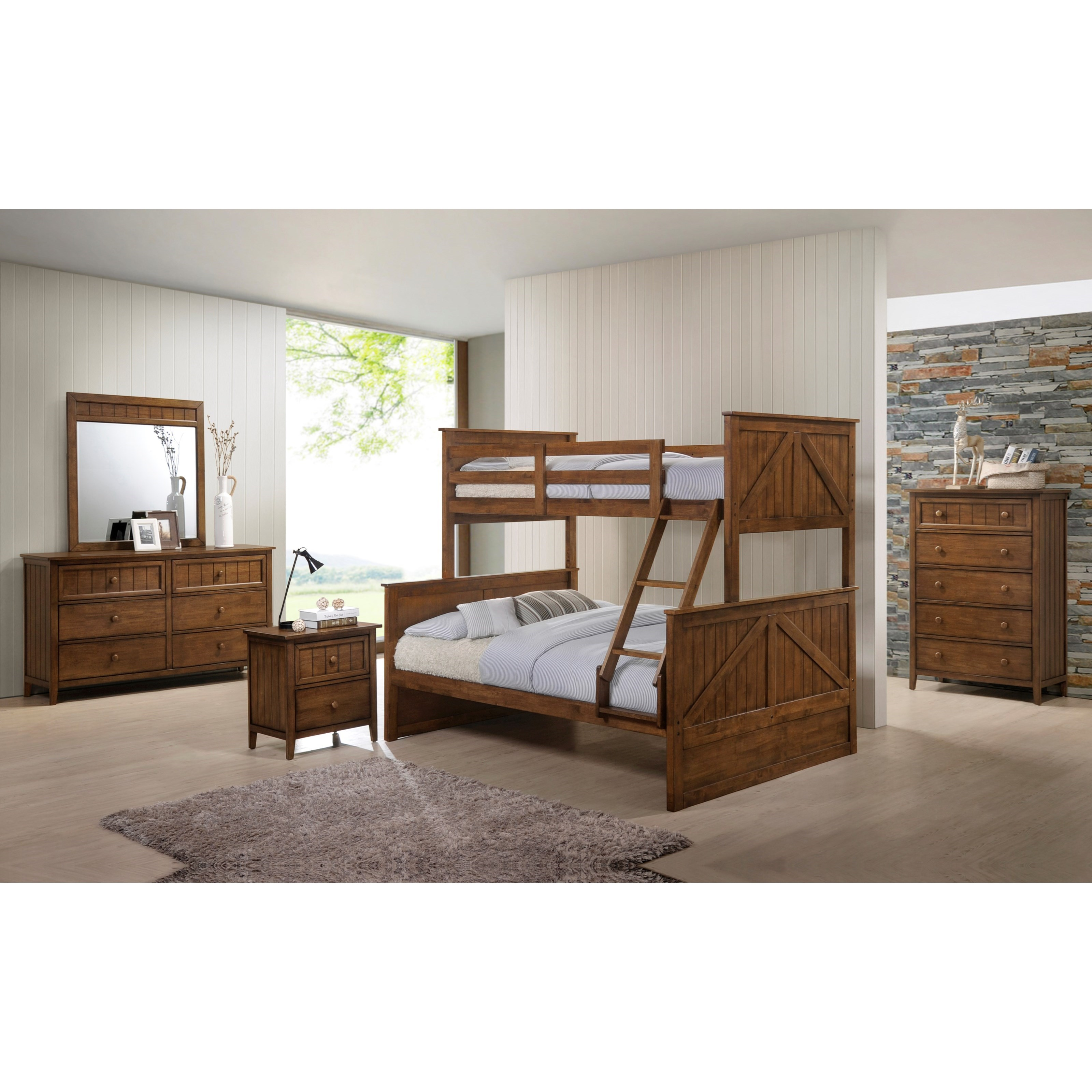 Simmons Upholstery Ashland Modern Rustic Twin Over Full
