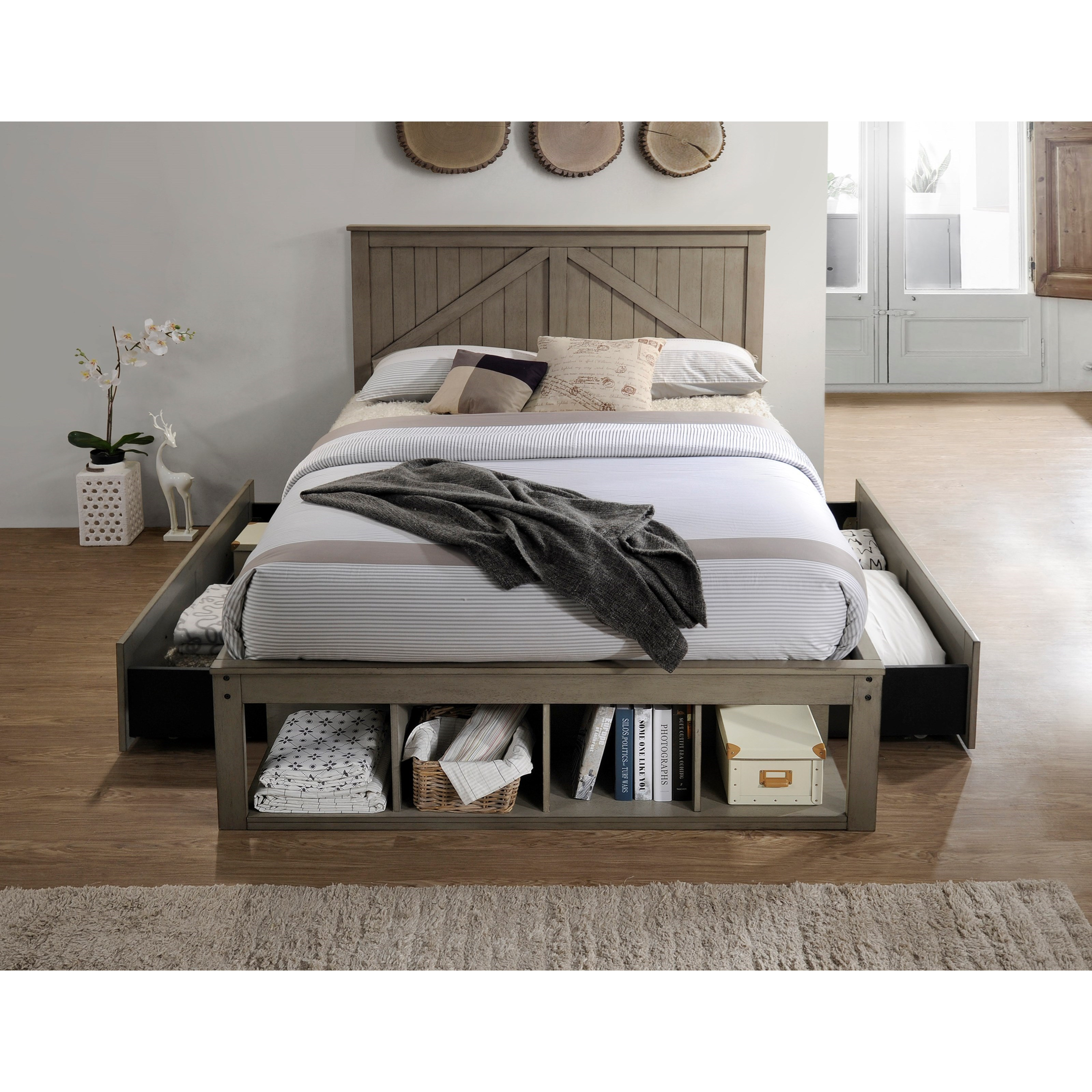United Furniture Industries Ashland Full Captains Bed - Item Number: 3016-88+89+87