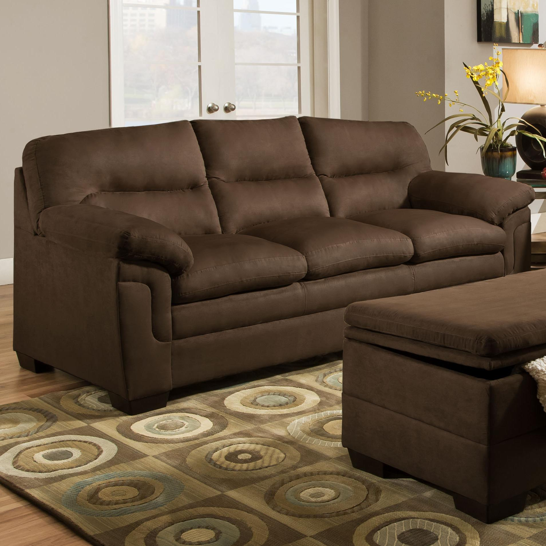 Merveilleux Simmons Upholstery 3615 Casual Stationary Sofa   Item Number: 3615 Sofa Luna  Chocolate