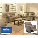 "Simmons Upholstery 3683 Sofa Love Recliner and 32"" TV - Item Number: 3683 Group"