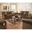 Simmons Upholstery 3683 Living Room Group - Item Number: 3683 Living Room Group 1-Chestnut