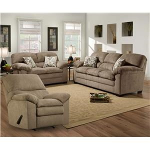 Simmons Upholstery 3684 Puff Musk Sofa, Loveseat and Recliner