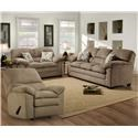 Simmons Upholstery 3684 Puff Musk Sofa, Loveseat and Recliner - Item Number: 3684