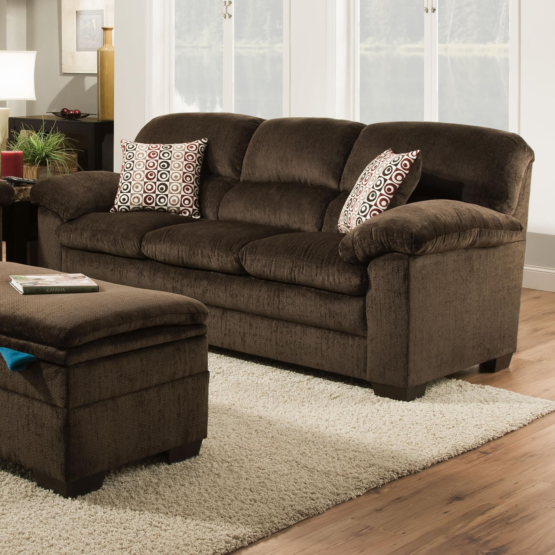 United Furniture Industries 3684 Stationary Sofa with Pillow Arms