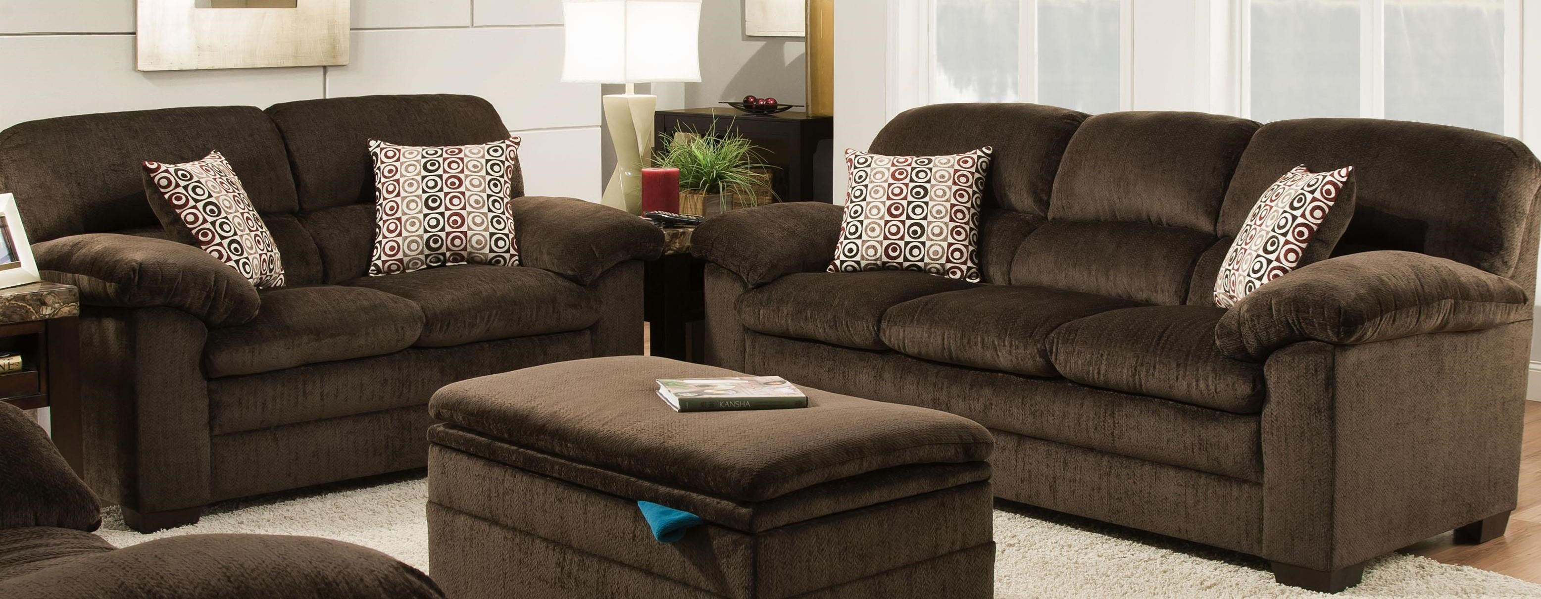 United Furniture Industries 3684 Sofa & Love Seat - Item Number: 3684-SF-Chocolate+3684-LS-Chocolate