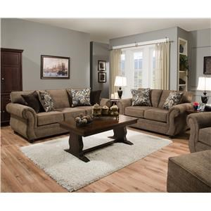 Simmons Upholstery 4250 BR Sofa and Loveseat