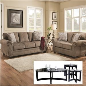Simmons Upholstery 4253 Sofa and Loveseat with Tables