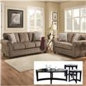 Simmons Upholstery 4253 Sofa and Loveseat with Tables - Item Number: 4253S+L with 7034-45