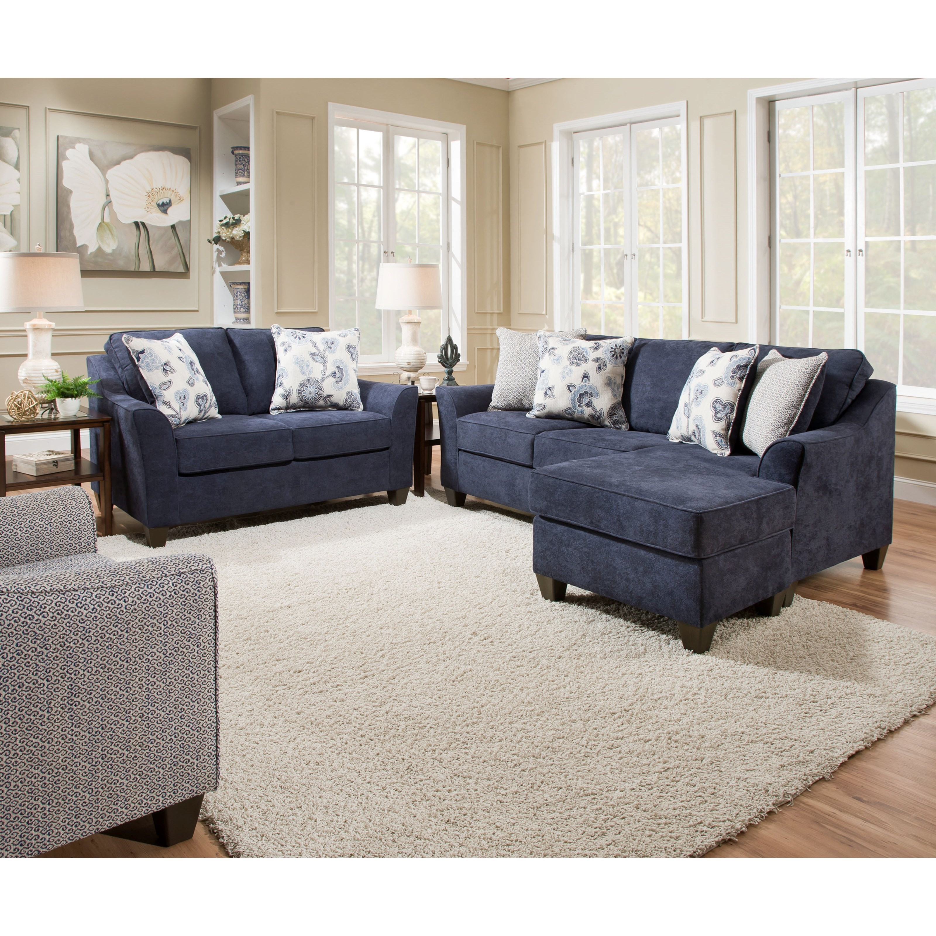 Sectional Sofa Couch Reversible Chaise Ottoman Furniture: United Furniture Industries 4330 4330SOFACHAISE