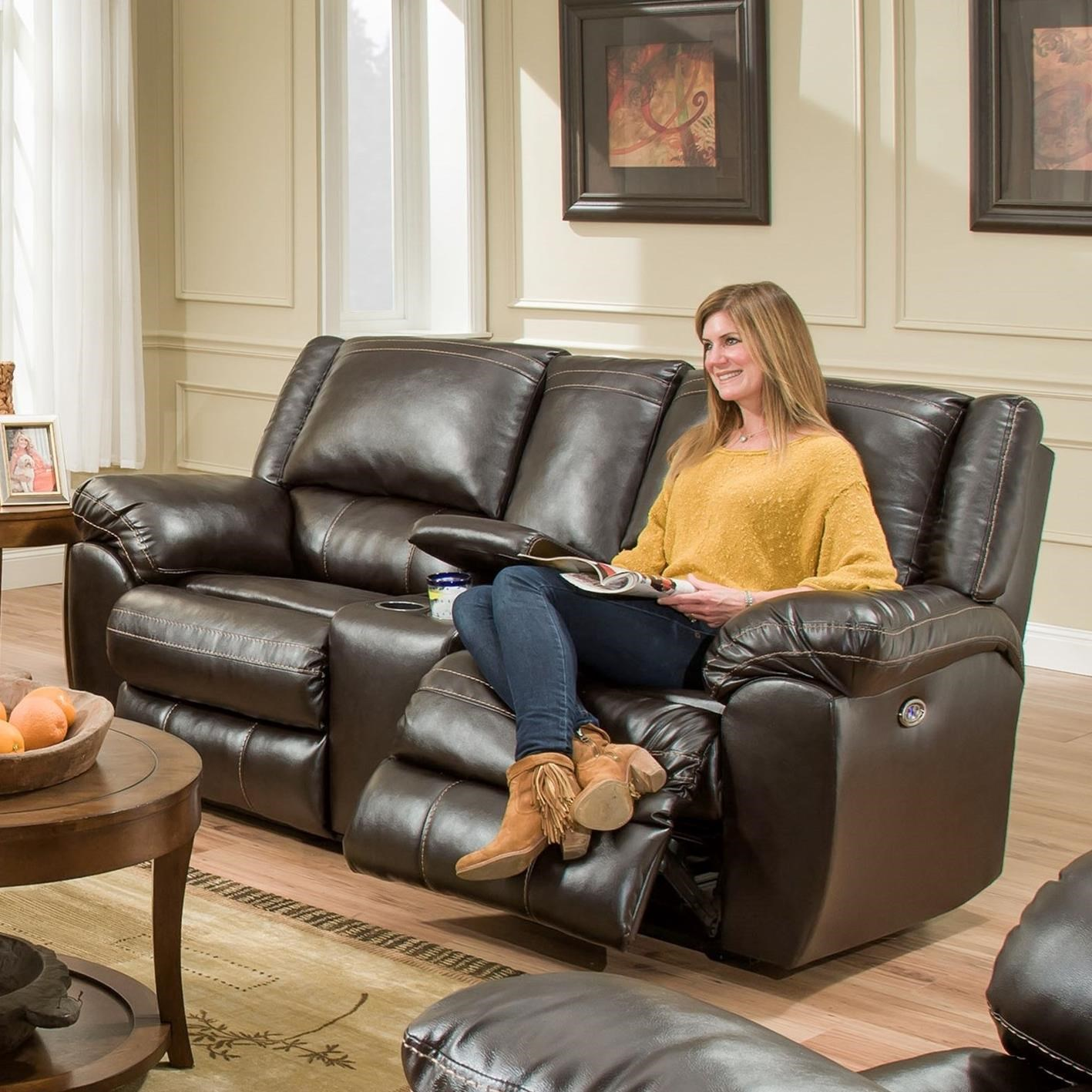 Simmons Upholstery 50433BR Double Motion Console Loveseat - Item Number: 50433BRDblMotionLoveseat-BingoBrown