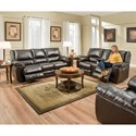 Simmons Upholstery 50433BR Double Motion Console Loveseat with USB Charging Port