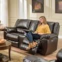 Lane Home Furnishings 50433BR Power Double Motion Console Loveseat - Item Number: 50433BRPDblMotionLoveseat-BingoBrow
