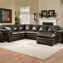 United Furniture Industries 5045 United Transitional Sectional Sofa - Item Number: 5045LAFSofa+ALV+RAFChaise-MariJava