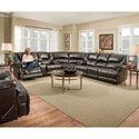 United Furniture Industries 50451 Casual 3-Piece Reclining Sectional with Storage and Cupholders
