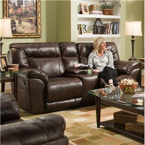 United Furniture Industries 50571BR Double Motion Loveseat with Console