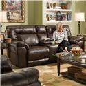 United Furniture Industries 50571BR Double Motion Loveseat with Console - Item Number: 50571Loveseat-AbileneTobacco