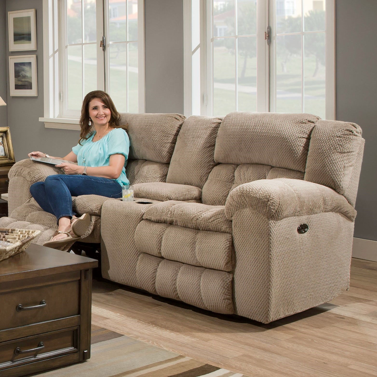 United Furniture Industries 50580BR Power Double Motion Loveseat - Item Number: 50580BRPLOVESEAT