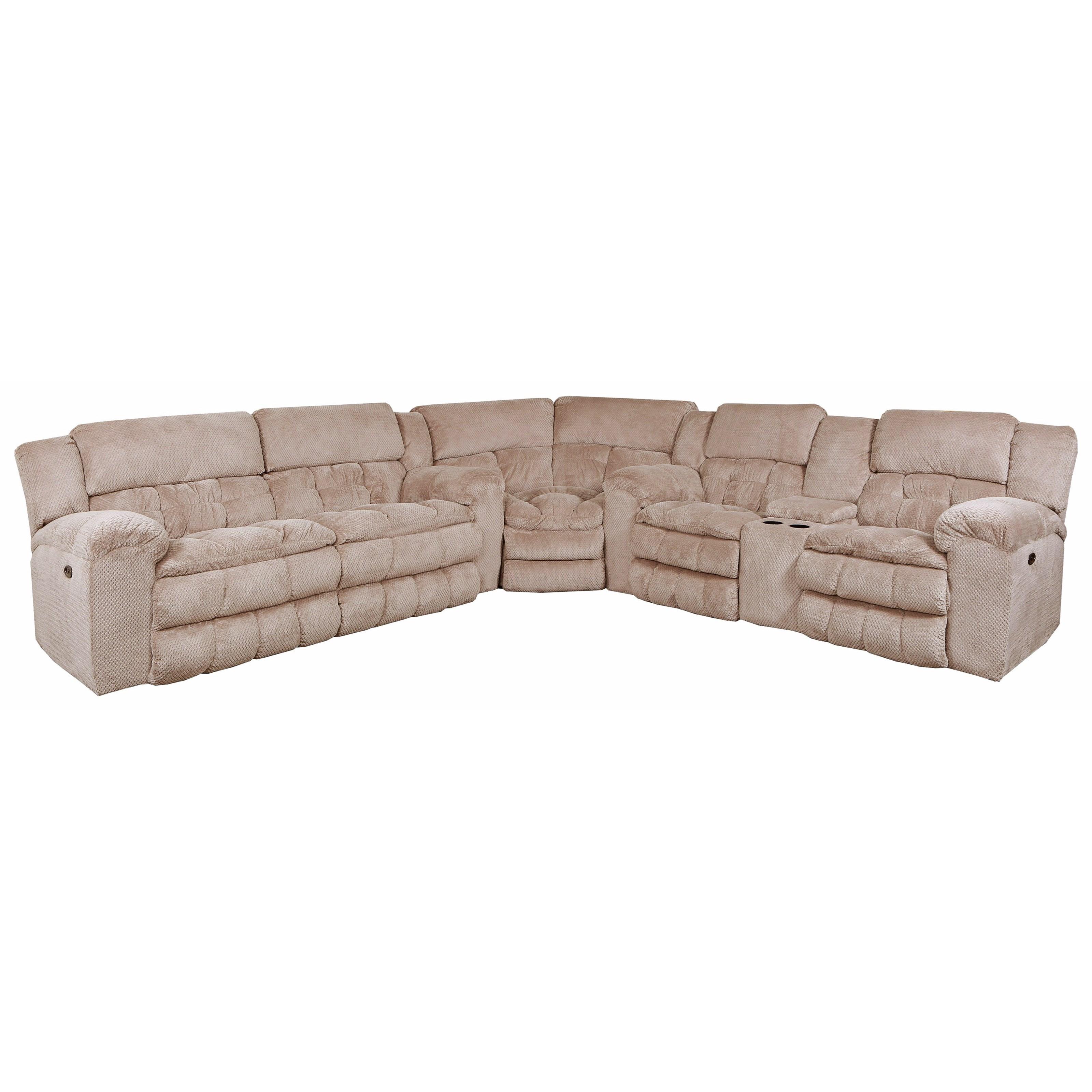 United Furniture Industries 50580BR Power Reclining Sectional - Item Number: 50580BRPS+PLS+W+Madeline Sandstone