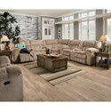 United Furniture Industries 50580BR Casual 5 Seat Reclining Sectional - Image shown may not represent reclining option indicated