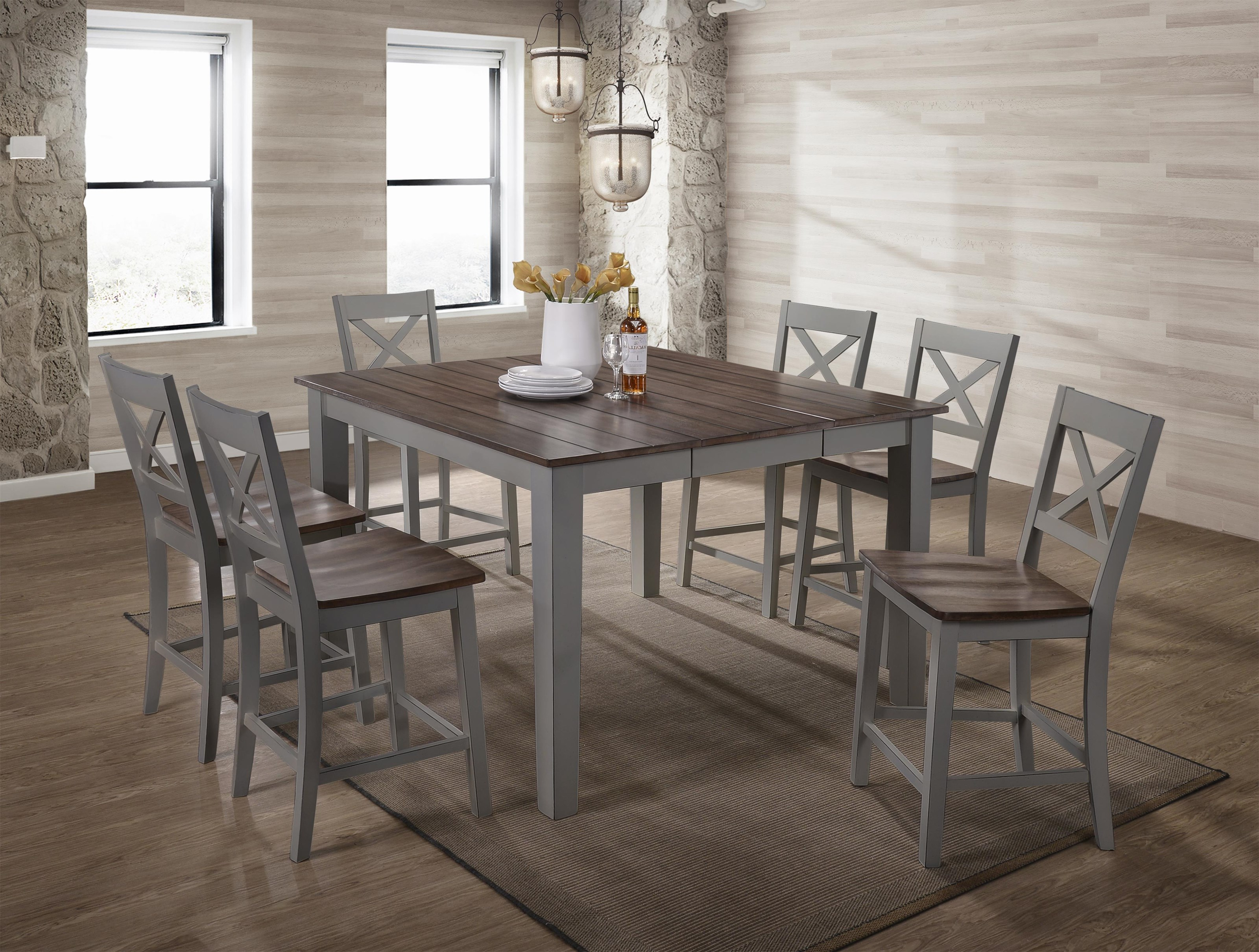 5059 Counter Height Square Dining Table by United Furniture Industries at Value City Furniture