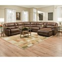 United Furniture Industries 50660 Casual Sectional Sofa - Item Number: LAFLVSEAT+W+ARMLESSCHAIR+CHAISE-RGT