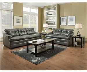 Simmons Upholstery 5122 Casual Sofa and Loveseat - 5122GRAYSOFA + GRAYLOVE