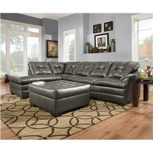Simmons Upholstery 5122 Sectional Sofa with Chaise - 5122LAFCHZ + RSFSOFA