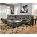 Simmons Upholstery 5122 Sectional Sofa with Chaise - Item Number: 5122LAFCHZ + RSFSOFA