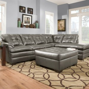 Simmons Upholstery 5122 Transitional Sectional Sofa - Item Number: 5122LAFSofa+RAFBump-Charcoal
