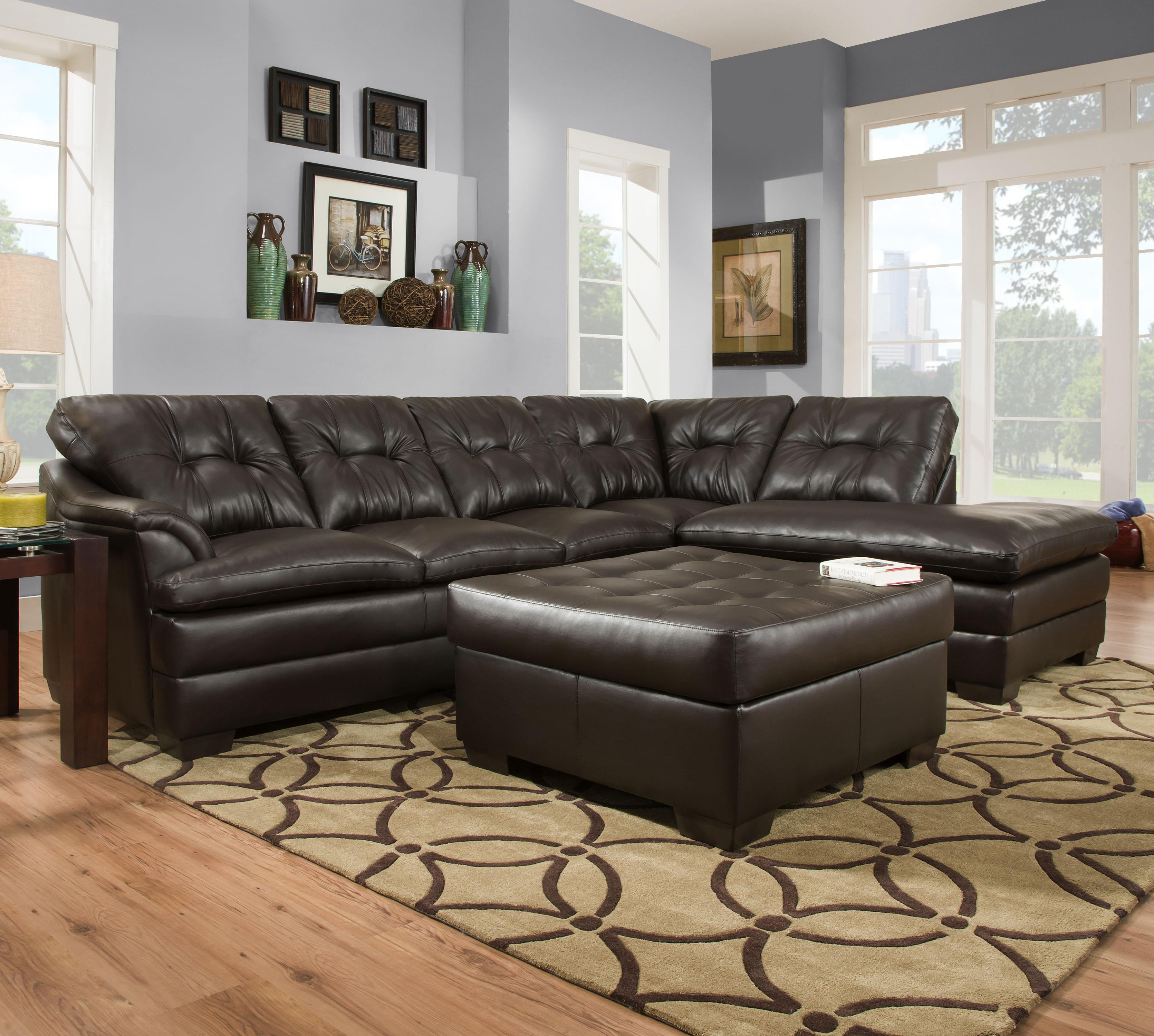 Simmons Upholstery 5122 Transitional Sectional Sofa - Item Number: 5122LAFSofa+RAFBump-Espresso