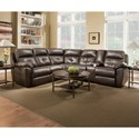 United Furniture Industries 53200 Casual Reclining Sectional Sofa - Item Number: 53200-LAFJWedge+RAFJWConsole-Chocol