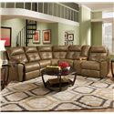 United Furniture Industries 53200 Casual Reclining Sectional Sofa - Item Number: 53200-LAFJWedge+RAFJWConsole-Toast