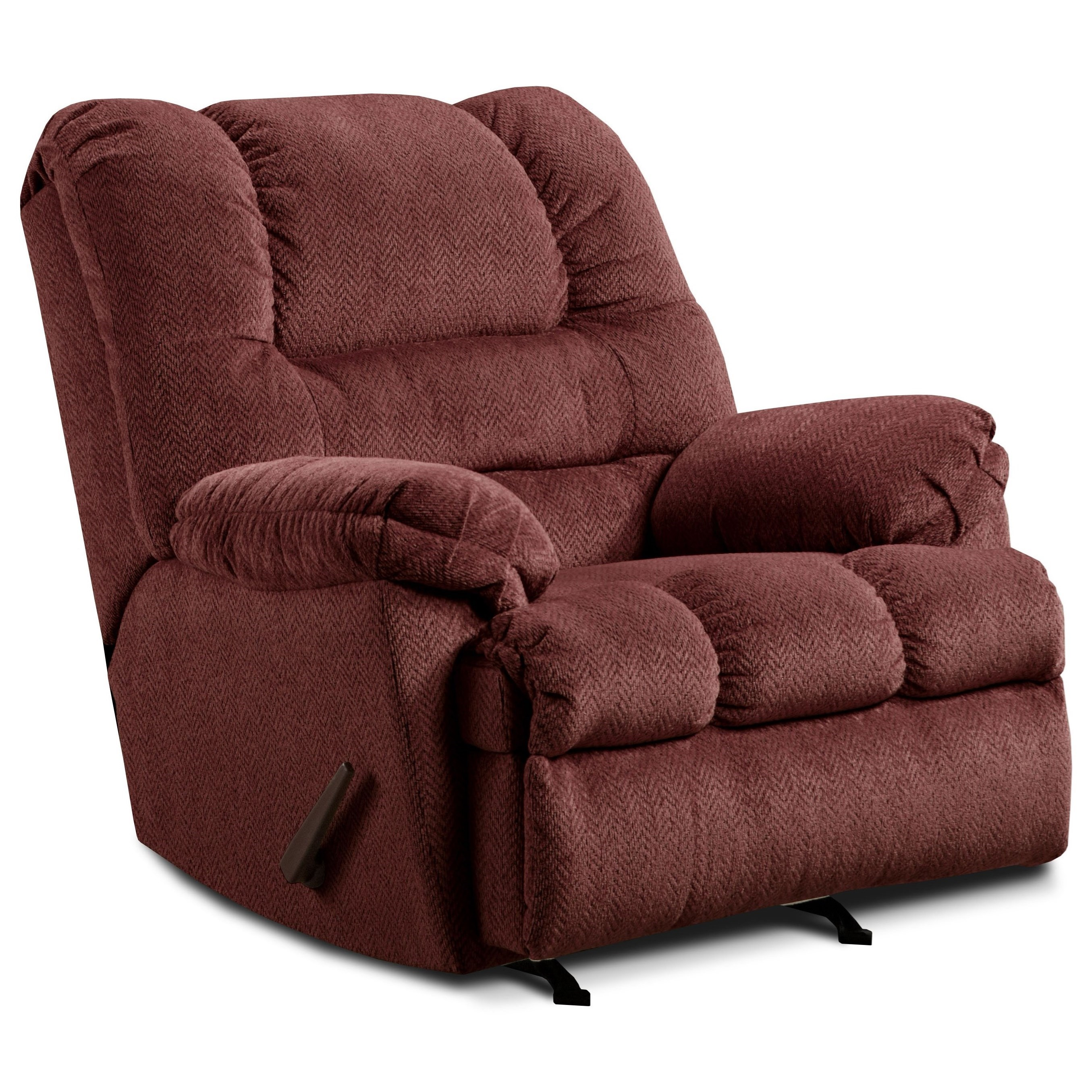 United Furniture Industries 600 Casual Oversized Power Rocker Recliner - Item Number: 600-P-Zig Zag Wine