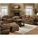 United Furniture Industries 6270 Transitional Square Ottoman with Exposed Wood Legs - Shown with Loveseat and Sofa