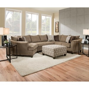 United Furniture Industries 6485 Transitional Sectional In Truffle Fabric