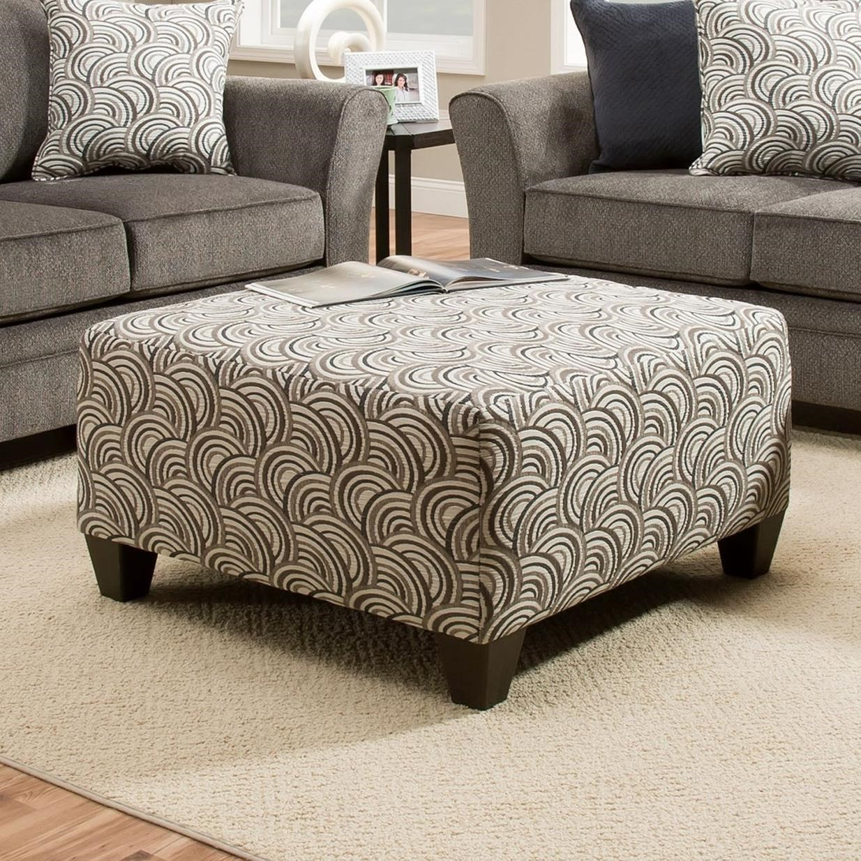 United Furniture Industries 6485 Cocktail Ottoman - Item Number: 6485CocktailOttoman-BastaSilver