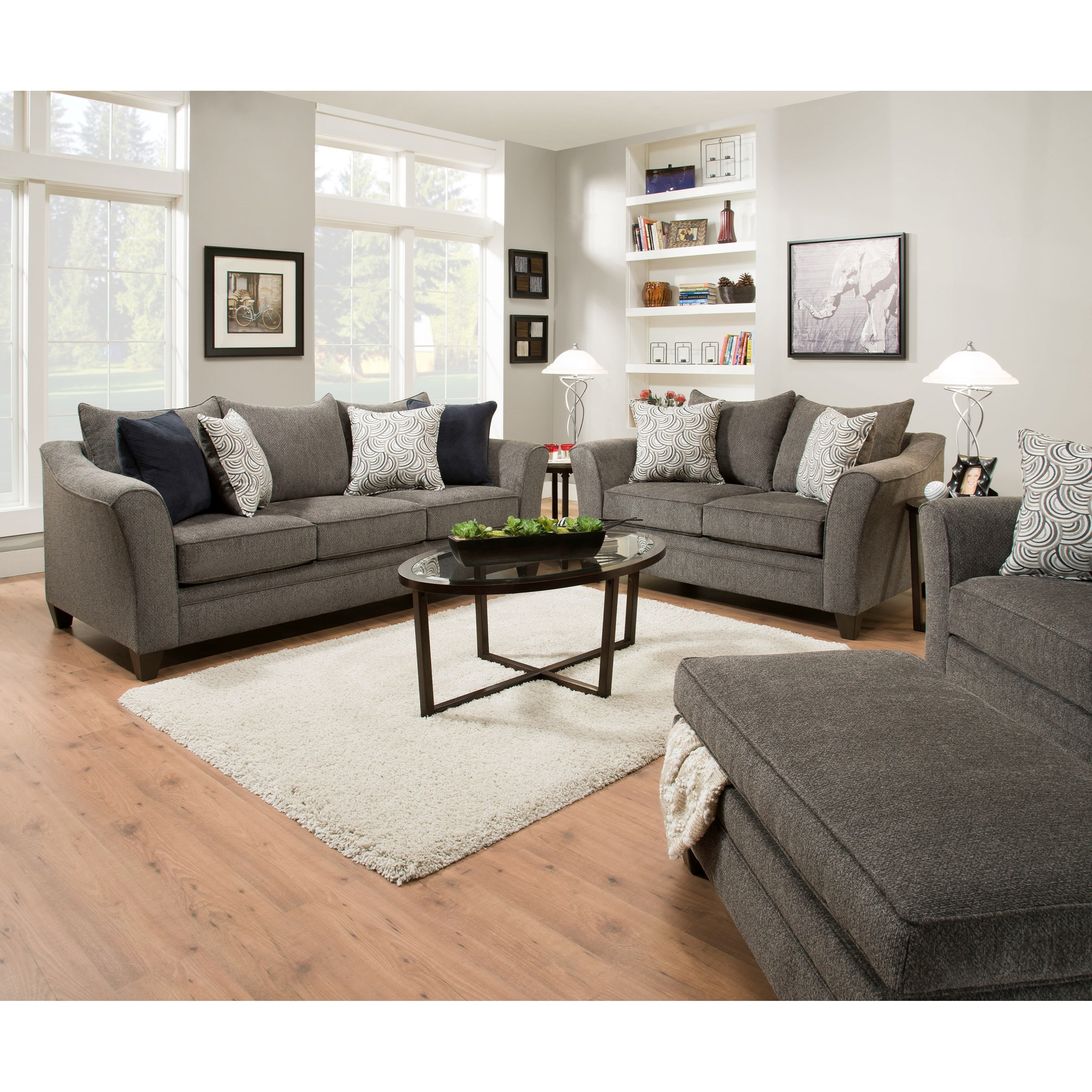Simmons Upholstery 6485 Living Room Group - Item Number: 6485LivingRoomGroup-Pewter