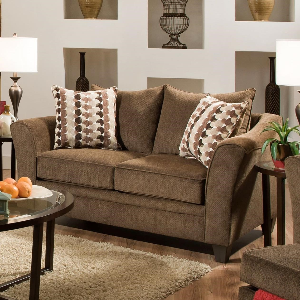 United Furniture Industries 6485 Transitional Loveseat - Item Number: 6485Loveseat-AlbanyChestnut