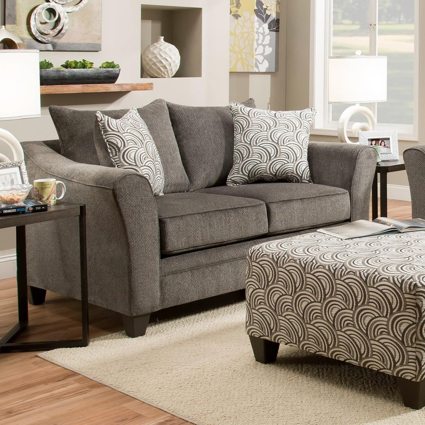 United Furniture Industries 6485 Transitional Loveseat - Item Number: 6485Loveseat-AlbanyPewter