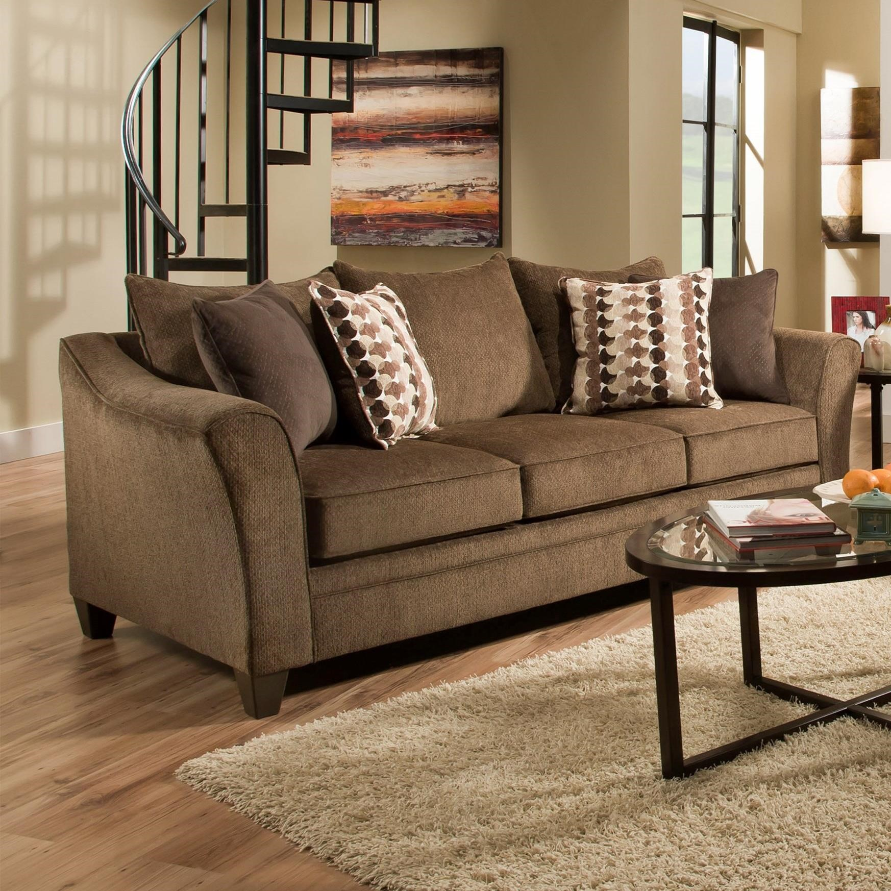 United Furniture Industries 6485 Transitional Queen Slepper Sofa - Item Number: 6485SleeperSofa-AlbanyChestnut
