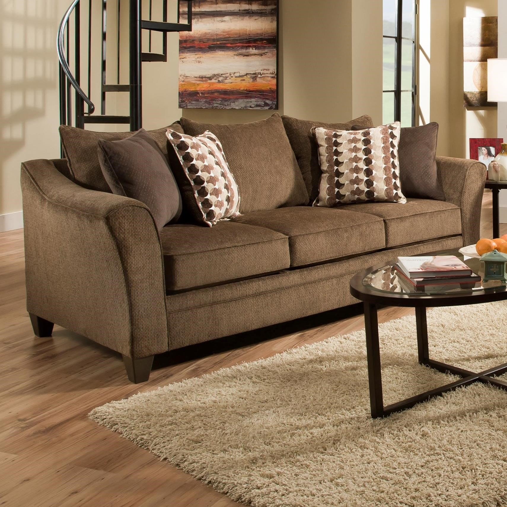 United Furniture Industries 6485 Transitional Sofa - Item Number: 6485Sofa-AlbanyChestnut