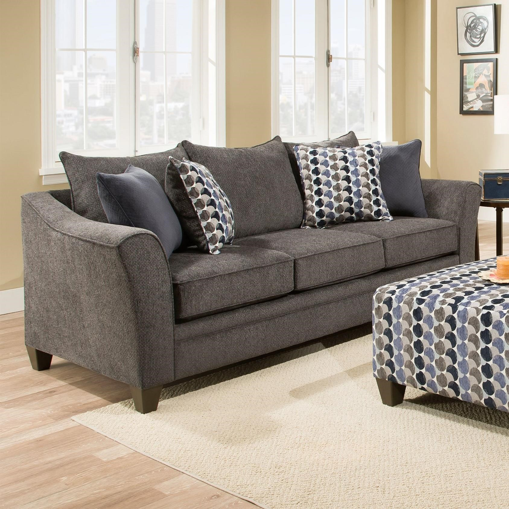 United Furniture Industries 6485 Transitional Sofa - Item Number: 6485Sofa-AlbanySlate